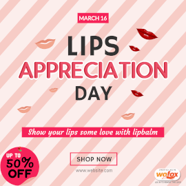 Online Editable Lips Appreciation Day March 16 Instagram Post
