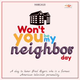 Online Editable Won't You Be My Neighbor Day March 20 Instagram Post
