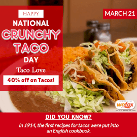Online Editable National Crunchy Taco Day March 21 Instagram Post
