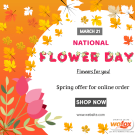 Online Editable National Flower Day March 21 Instagram Post