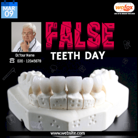 Online Editable False Teeth Day March 9 Instagram Post