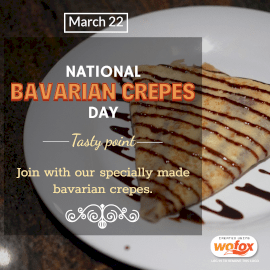 Online Editable National Bavarian Crepes Day March 22 Instagram Post