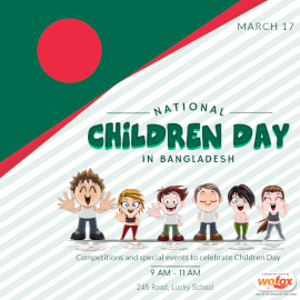 Online Editable National Children Day In Bangladesh March 17 Social Media Post