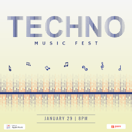 Online Editable Techno Music Fest Square GIF Template