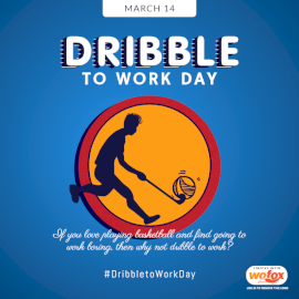 Online Editable Dribble To Work Day March 14 Social Media Post