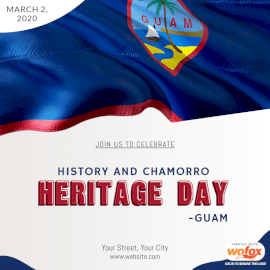 Online Editable History and Chamorro Heritage Day in Guam Social Media Post