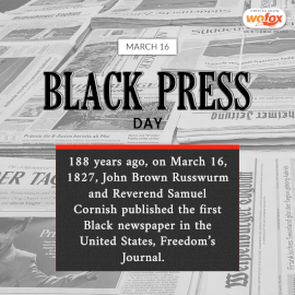 Online Editable Black Press Day Fact March 16 Social Media Post