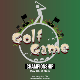 Online Editable Golf Championship Tournament Instagram Post