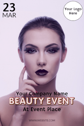 Online Editable Beauty Event Invitation Pinterest Graphic