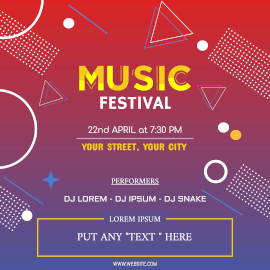 Online Editable DJ Music Festival Event Instagram Post