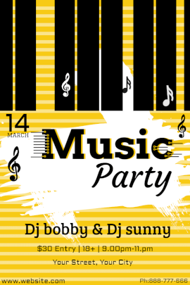 Online Editable DJ Music Party Pinterest Graphic