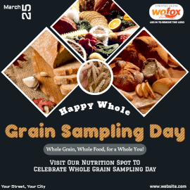 Online Editable Happy Whole Grain Sampling Day Instagram Post