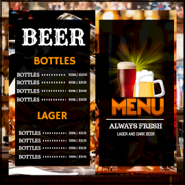 Online Editable Beer Items Menu Card Instagram Post