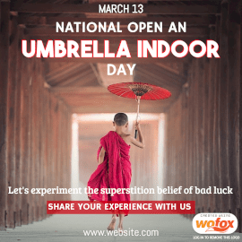 Online Editable National Open an Umbrella Indoors Day March 13 Instagram Post