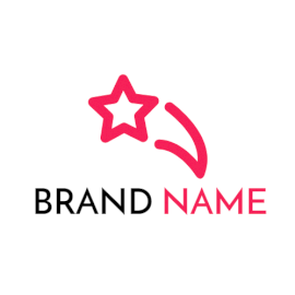 Online Editable Pink Star With Tail Marketing Logo