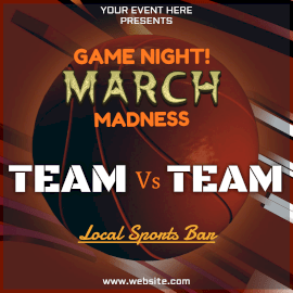 Online Editable March Madness Basketball Sports Event Animated Design