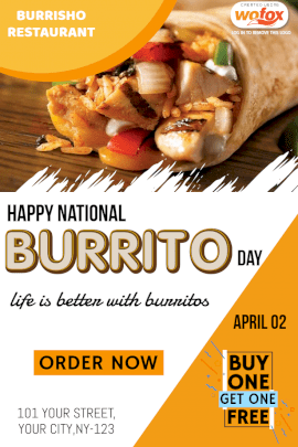 Online Editable National Burrito Day Pinterest Graphic