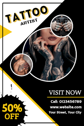 Online Editable Tattoo Artist from Professional Studio Pinterest Graphic