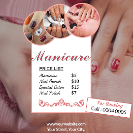 Online Editable Manicure at Salon Price List Instagram Post