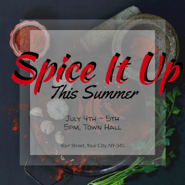 Online Editable Spice It Up Summer Cooking Recipes Instagram Post