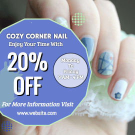 Online Editable Cozy Corner Nail Spa Instagram Post