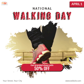 Online Editable National Walking Day Social Media Post