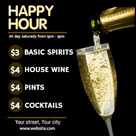 Online Editable Happy Hour Cocktails Instagram Post