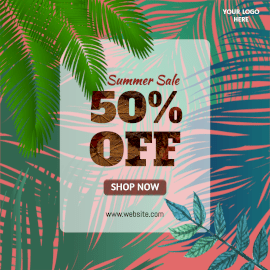 Online Editable Leafy Background Summer Sale 50% Off Instagram Post
