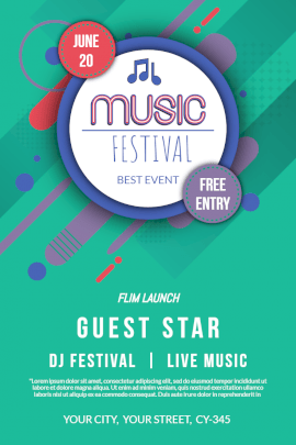 Online Editable Abstract DJ Music Festival Event Pinterest Graphic