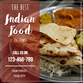 Online Editable Order Best Indian Cuisine Instagram Post