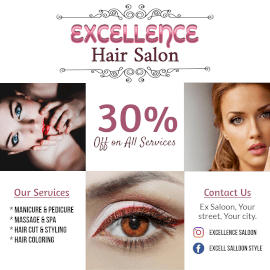 Online Editable Women's Hair Salon and Spa Instagram Post