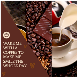 Online Editable Coffee and Chocolate Quotes 3 Grid Photo Collage