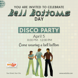 Online Editable Bell Bottoms Day April 5 Instagram Post