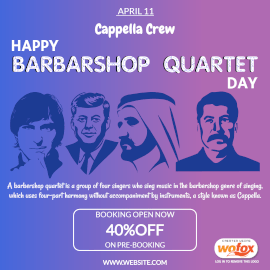 Online Editable Happy Barbershop Quartet Day April 11 Instagram Post