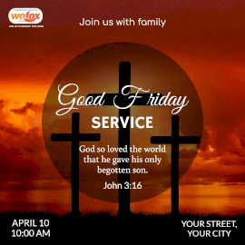 Online Editable Bible Verse About God's Love on Good Friday Service Instagram Post