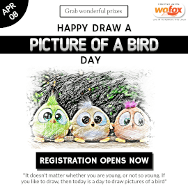 Online Editable Draw a Picture of a Bird Day April 8 Instagram Post