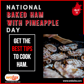 Online Editable National Baked Ham with Pineapple Day Instagram Post