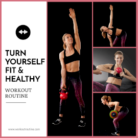 Online Editable Women's Health and Fitness 4 Grid Photo Collage