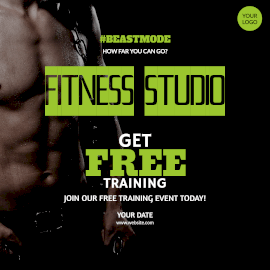 Online Editable Free Training at Fitness Studio Instagram Post
