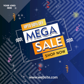 Online Editable Mega Sale 50% Off Instagram Post