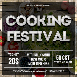 Online Editable White 3D Text Cooking Festival Instagram Post