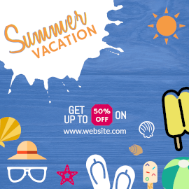 Online Editable Summer Vacation Sale Discount Instagram Post