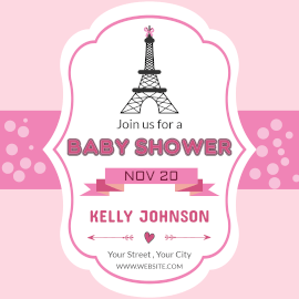 Online Editable Paris Baby Shower Invitation Instagram Post