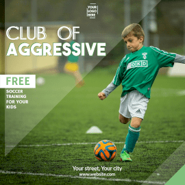 Online Editable Club of Aggressive Free Football Coaching Instagram Post