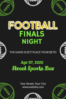 Online Editable Football Finals Night Pinterest Graphic
