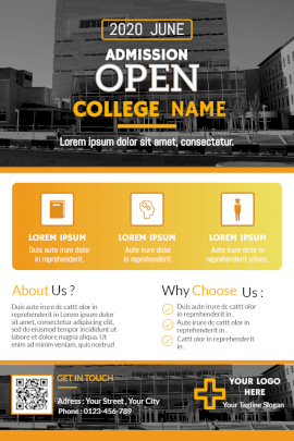 Online Editable College Admission Open 2020 Pinterest Graphic