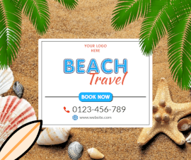 Online Editable Holiday Beach Travel Facebook Post