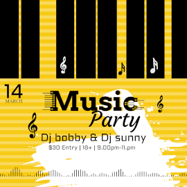 Online Editable DJ Music Party Invitation Music Visualizer