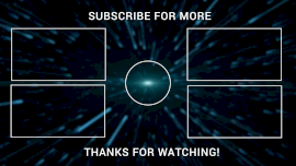 Online Editable Blue and Black 4 Elements and Subscribe YouTube Outro
