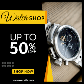 Online Editable Men's Watches Shopping Offer Instagram Post